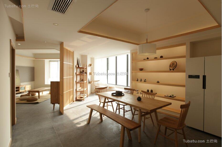 原木日式风格家装餐厅设计效果图