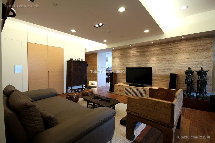 简约中式风住宅客厅效果图