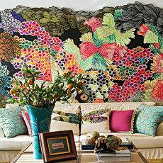 东南亚住宅沙发背景墙效果图