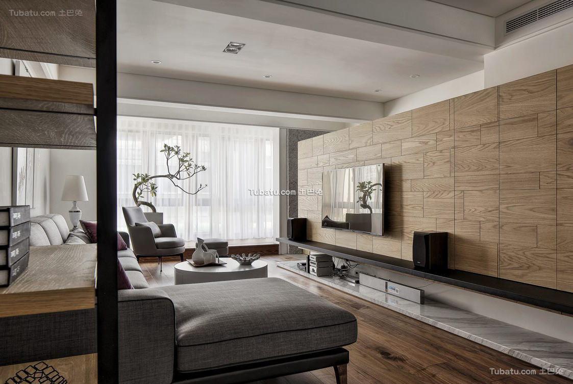 木质宜家风格家装电视背景墙效果图