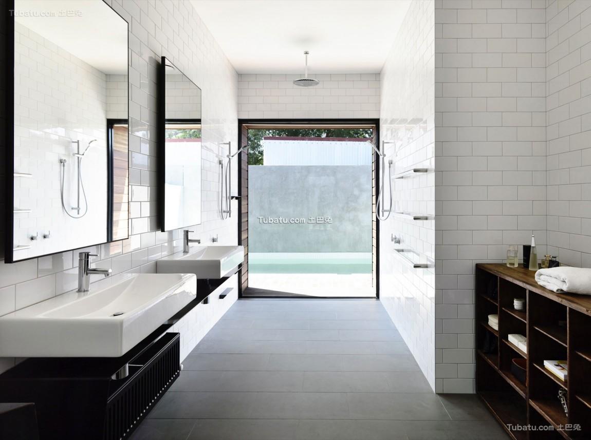 简单美式家装卫生间效果图