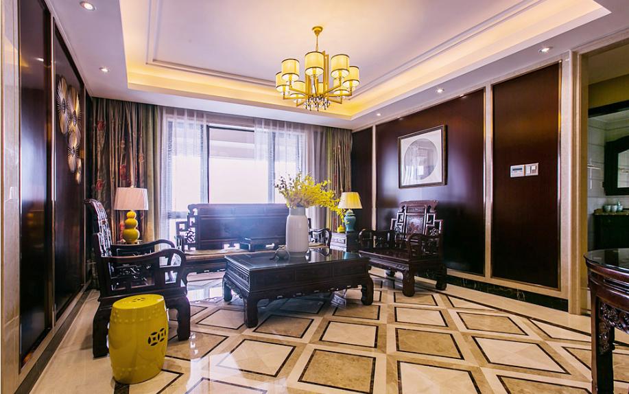 明亮中式家装客厅设计效果图
