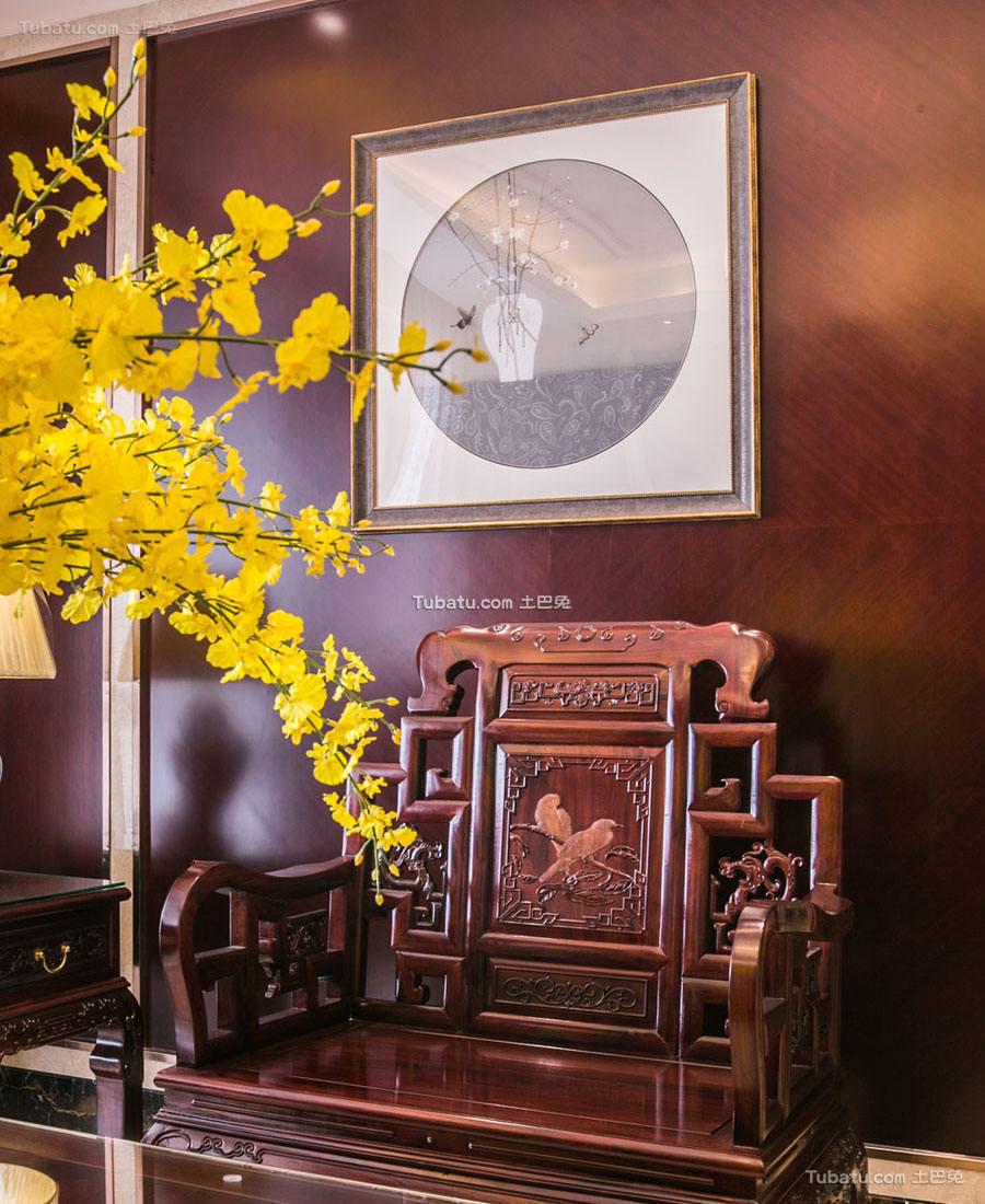 明亮中式家装沙发背景墙效果图