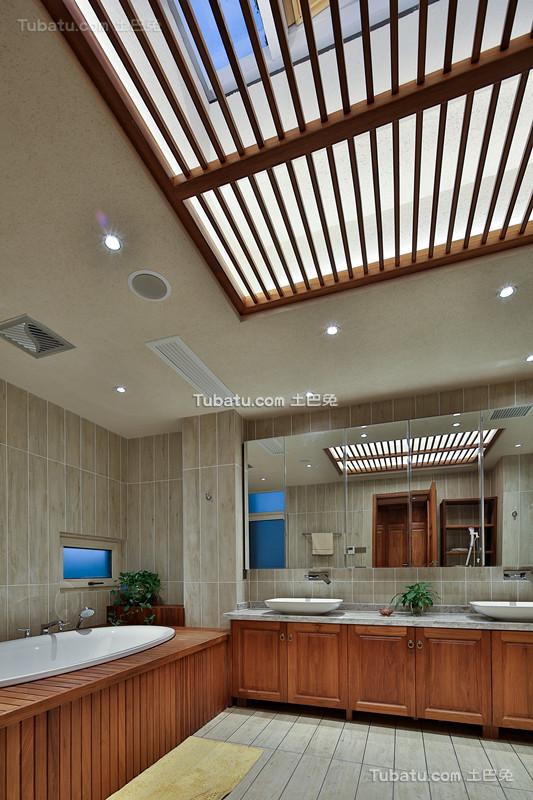 中式原木设计卫浴家装效果图