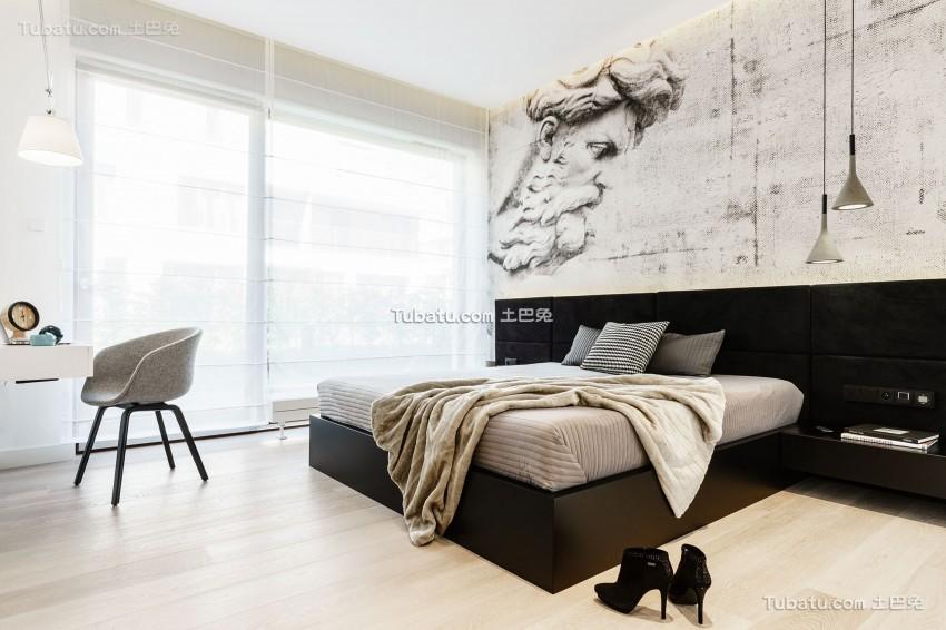 现代极简设计风格卧室效果图