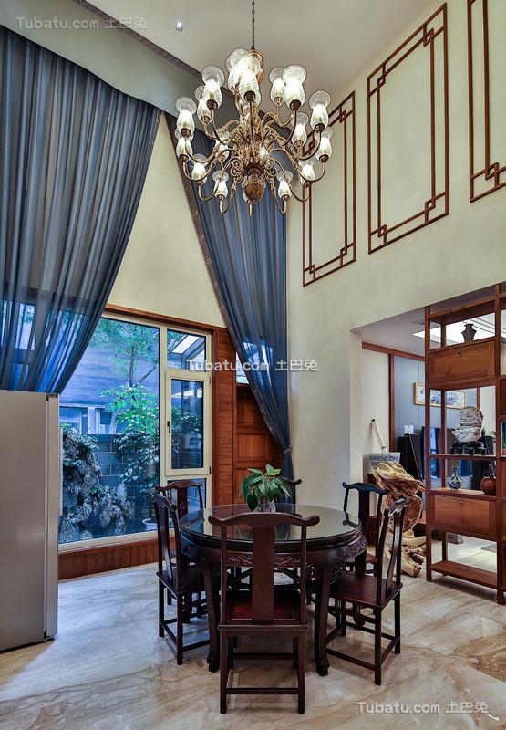 中式家装原木设计餐桌效果图