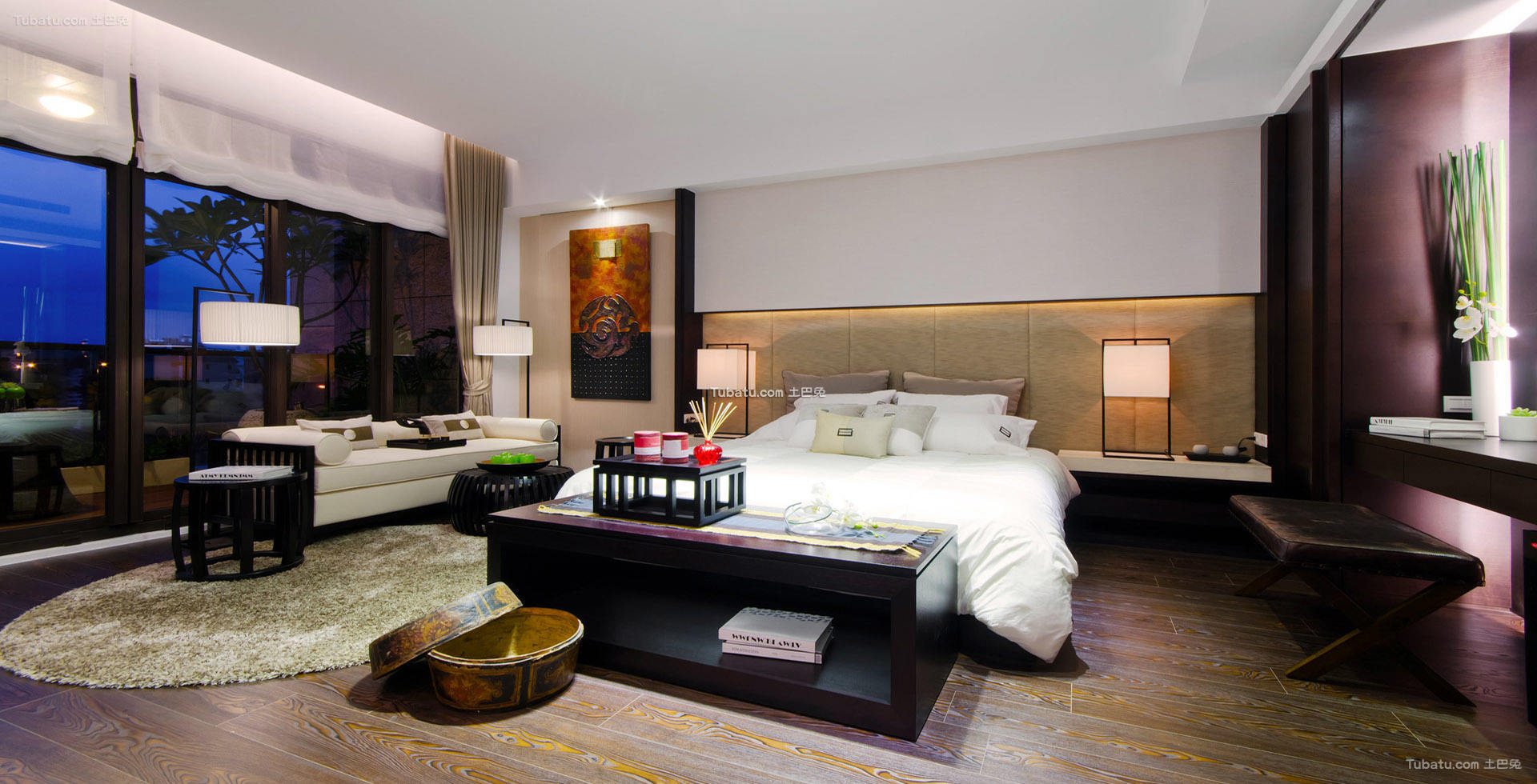 中式优雅设计卧室效果图
