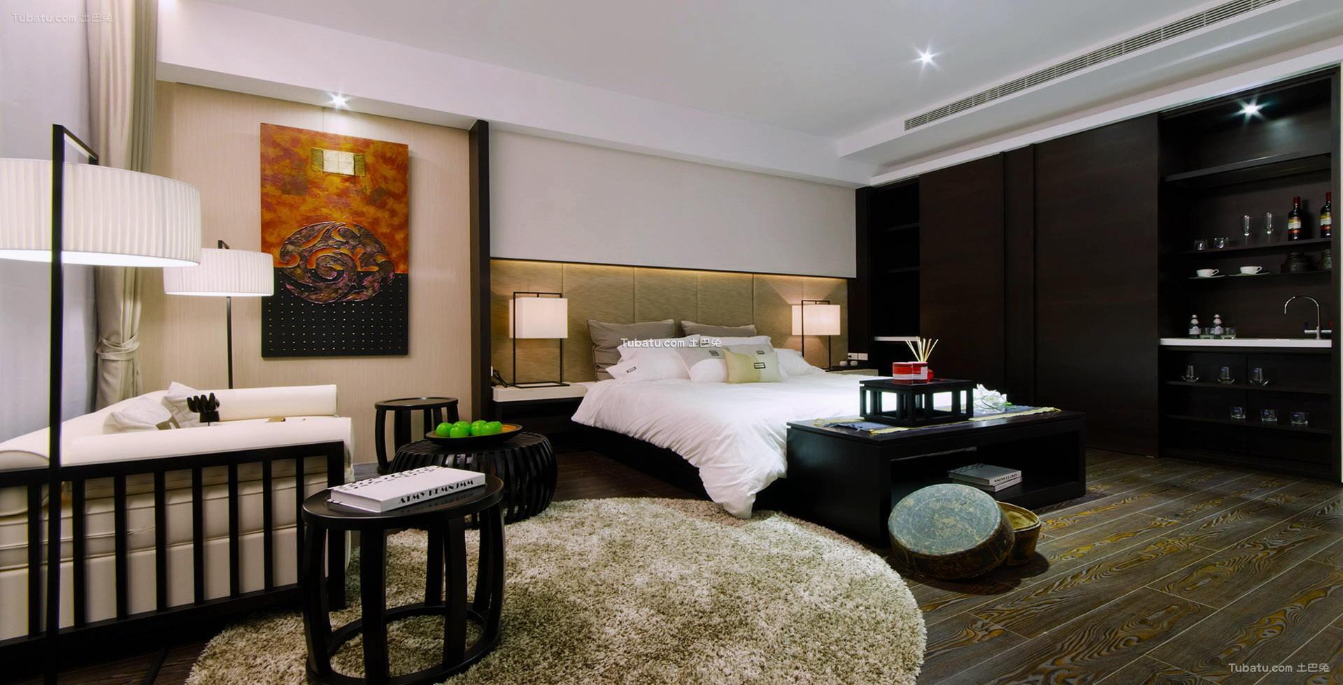 中式优雅设计卧室酒柜效果图