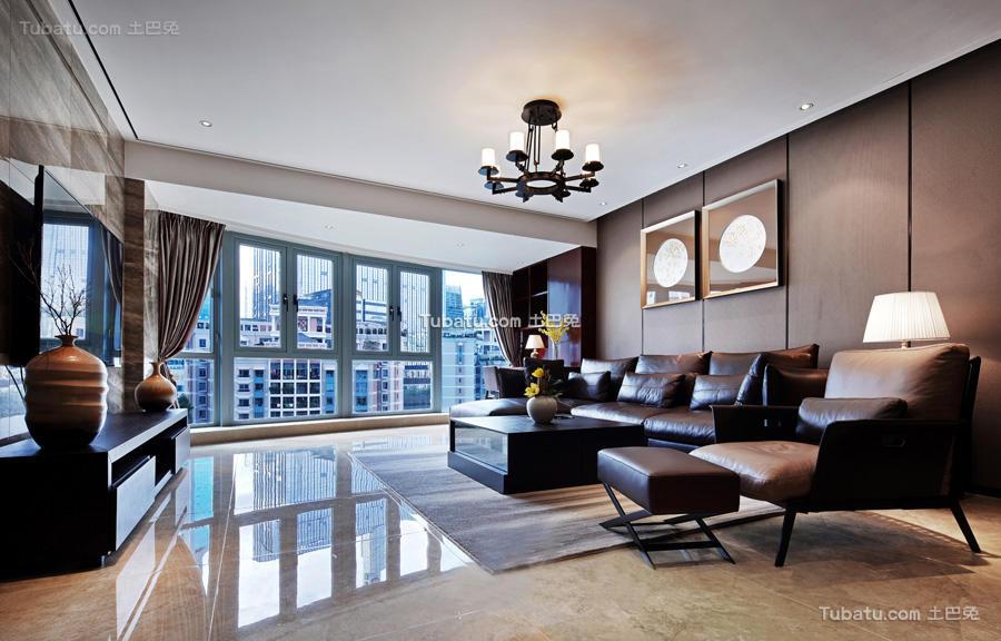现代中式风格一居室家装效果图