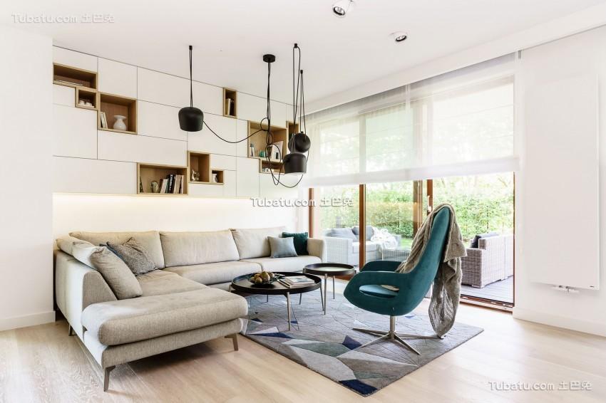 现代极简设计风格二居室效果图