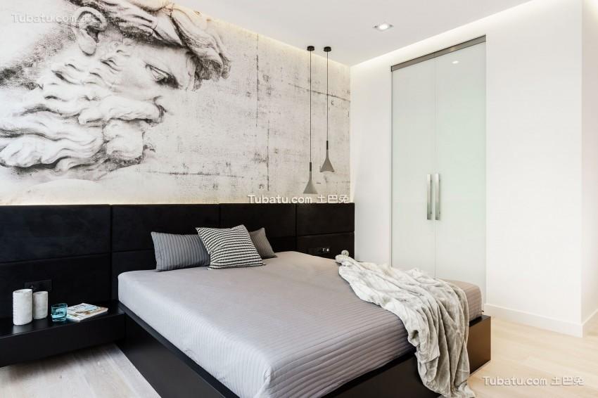 现代极简设计风格卧室背景墙效果图