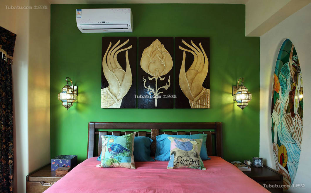 东南亚风格设计卧室背景墙效果图