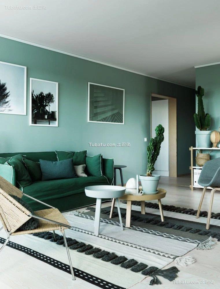 绿色宜家设计客厅家装效果图