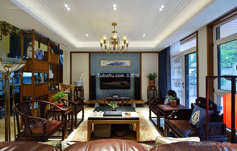 中式原木设计风格客厅效果图