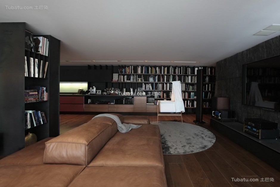 现代美式书房效果图