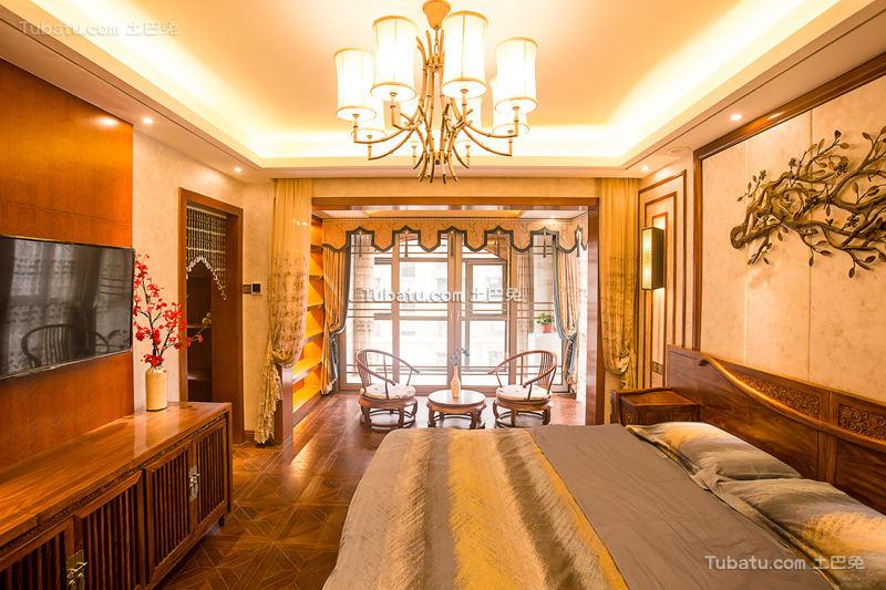 梦回红楼中式卧室吊顶效果图