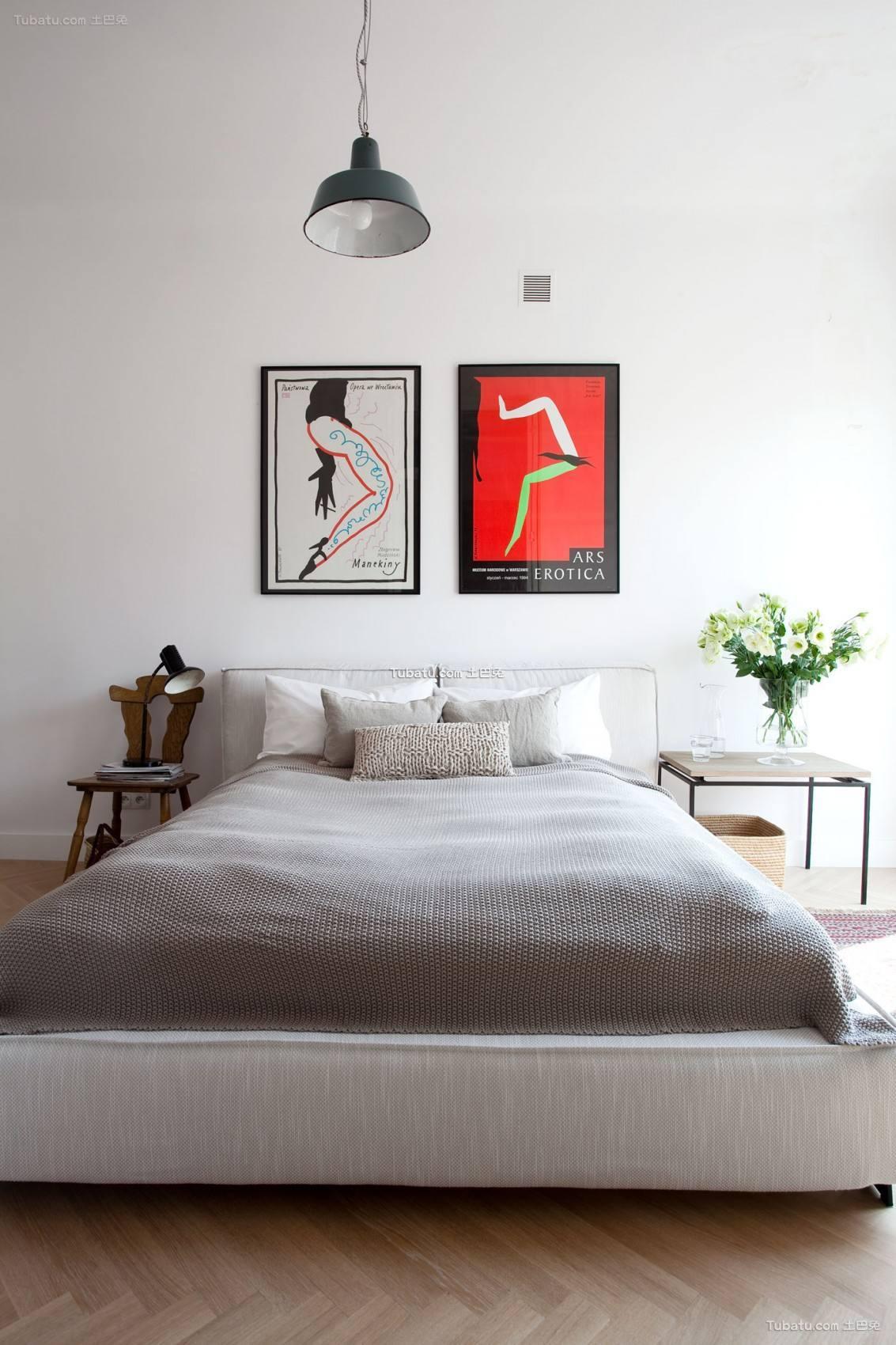 北欧卧室背景墙设计装修图