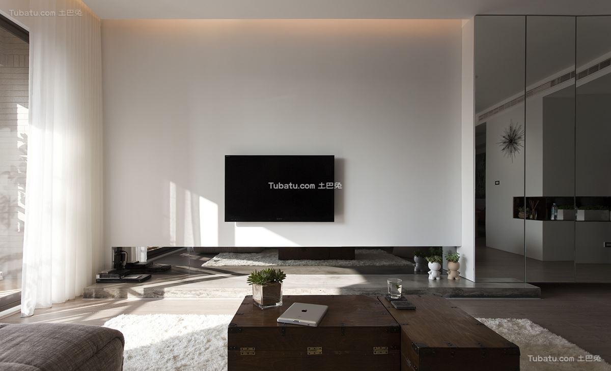 现代简约电视背景墙装修效果图设计