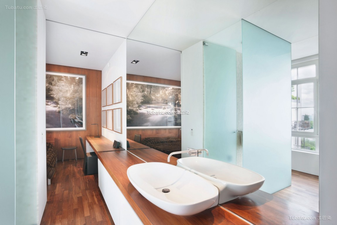现代风卫生间洗手台设计