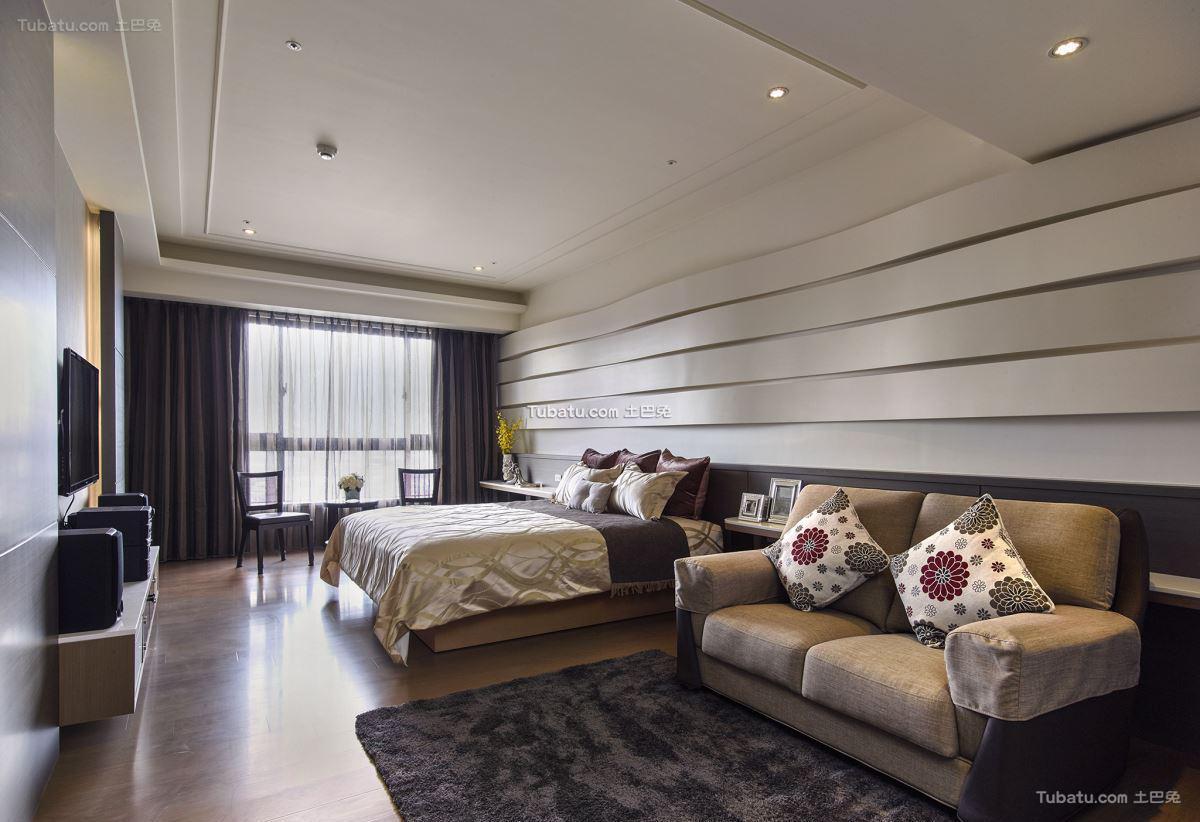 现代中式卧室效果图设计