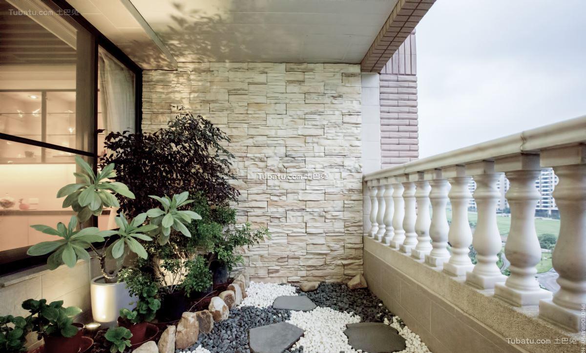 新中式家居花园效果图