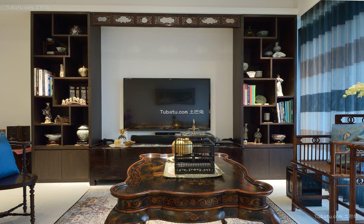 中式格调电视背景墙装修图