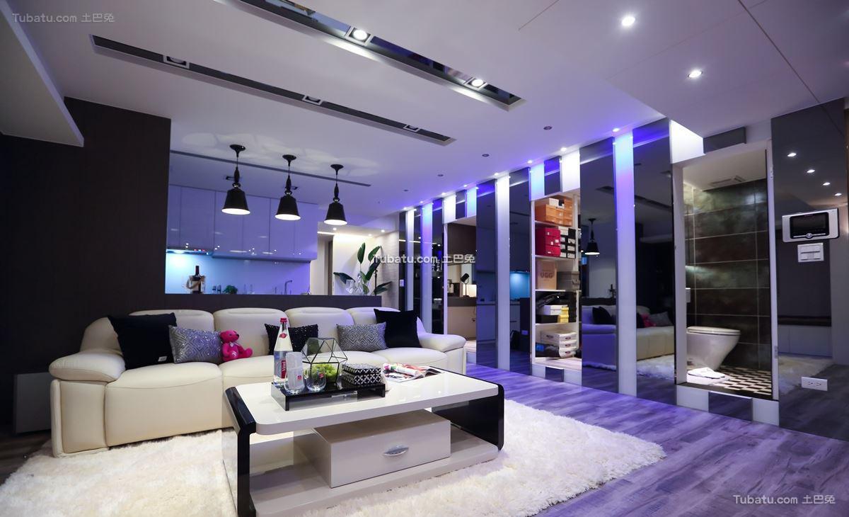 时尚混搭风格客厅装修图