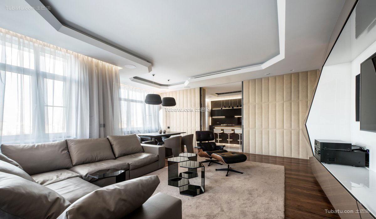 精美面积70平公寓现代装修实景图