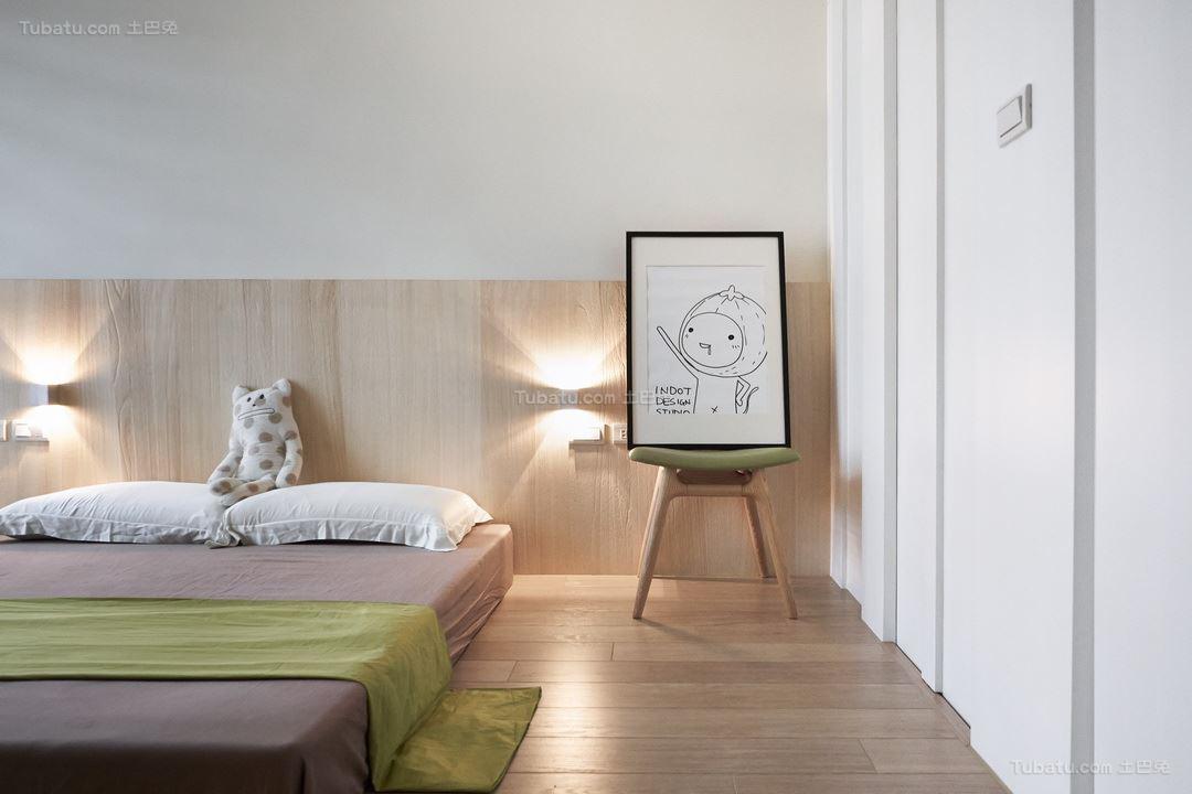 北欧淡雅温馨卧室效果图
