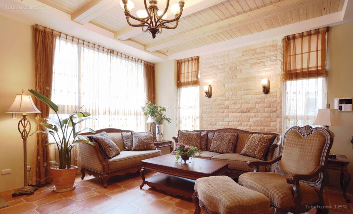 田园温馨复式楼客厅装修图片