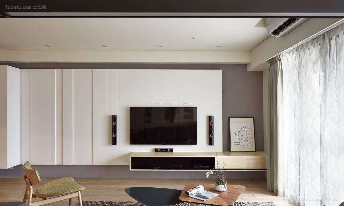 北欧淡雅装修电视背景墙图片展示