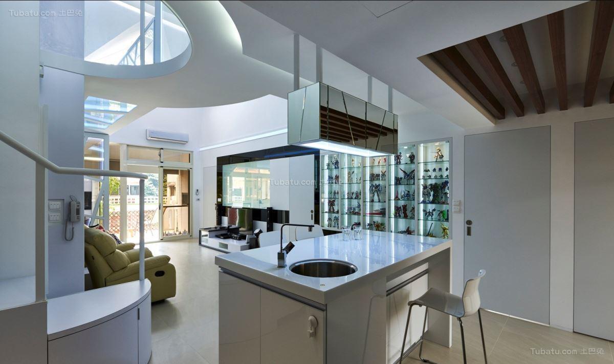 现代素净家装吧台设计装修图片