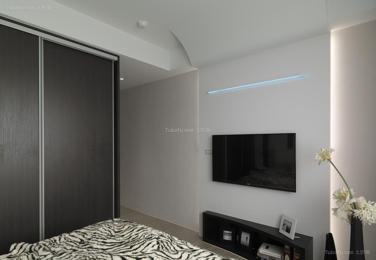 简约装修卧室电视背景墙设计图片