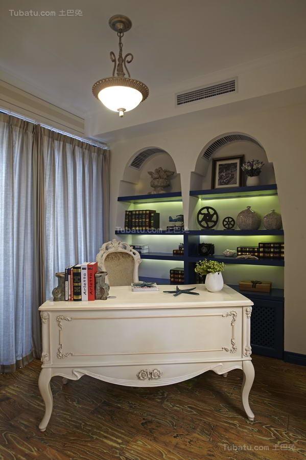 地中海优雅系列书房装修效果图