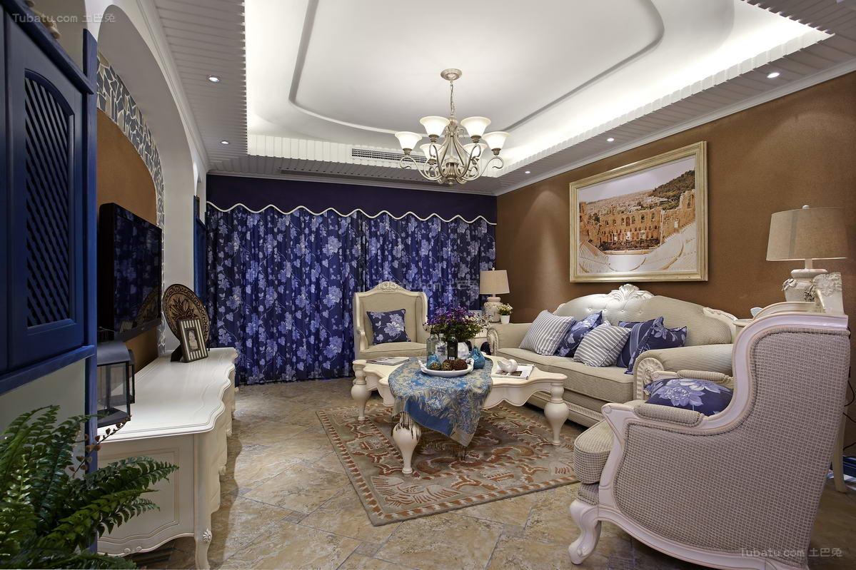 地中海优雅系列客厅装修效果图