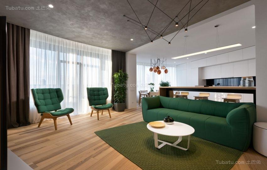 极简主义基辅色彩系列客厅装修效果图