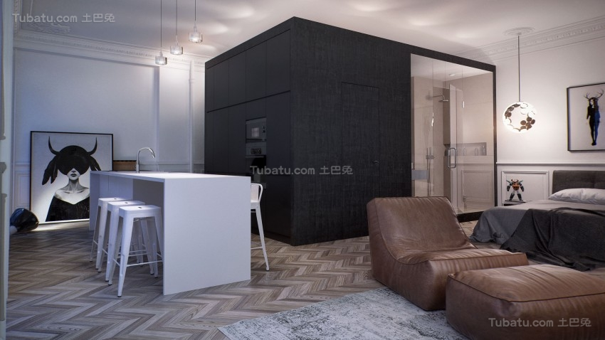 现代舒适系列家居吧台装修效果图
