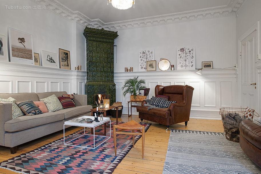 美式清新舒适系列客厅装修效果图