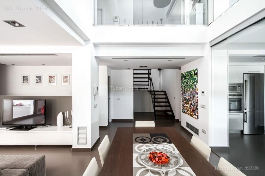 简约清新时尚楼梯装修效果图