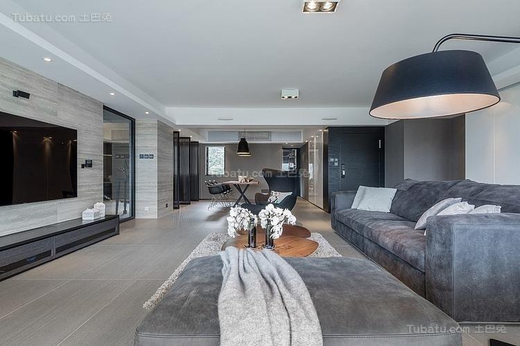 现代灰色时尚客厅装修效果图