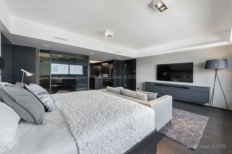 现代灰色时尚卧室装修效果图