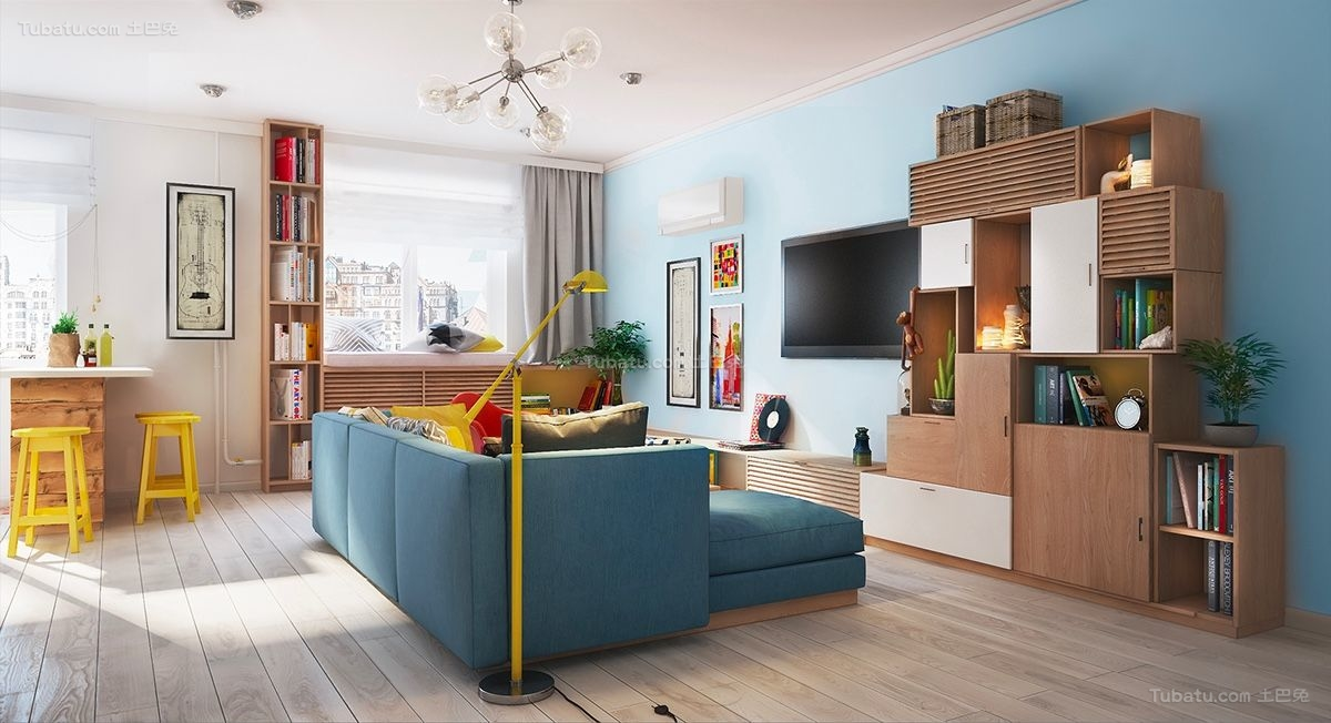 时尚色彩三居室装修效果图