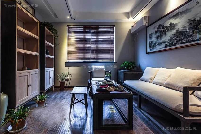 中式清新舒适三居室装修效果图