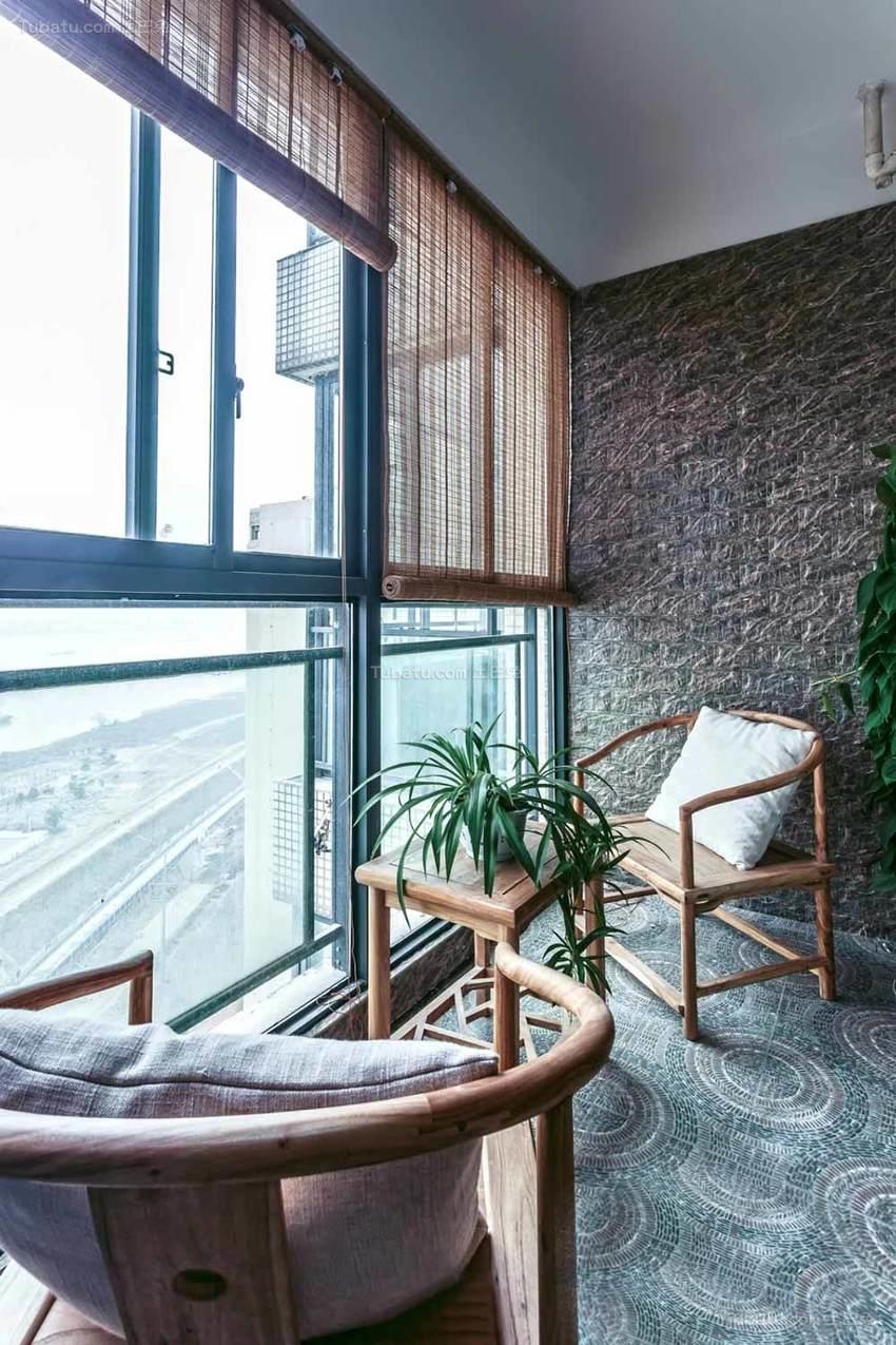 中式清新舒适阳台装修效果图
