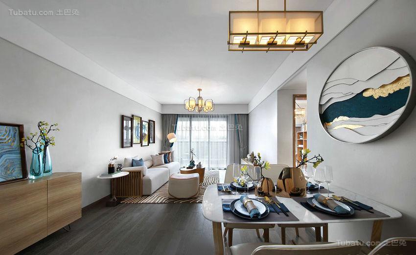 西方浪漫与中式优雅结合的三居室装修效果图