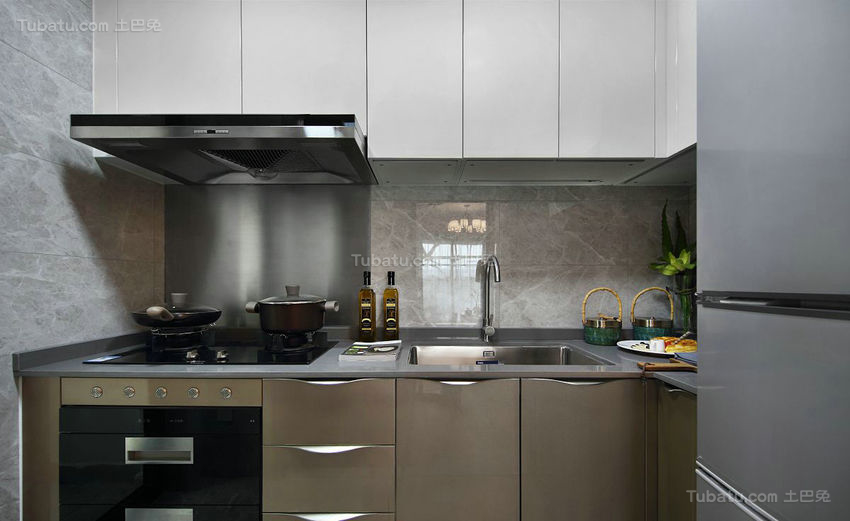 中西方风格结合的厨房装修效果图