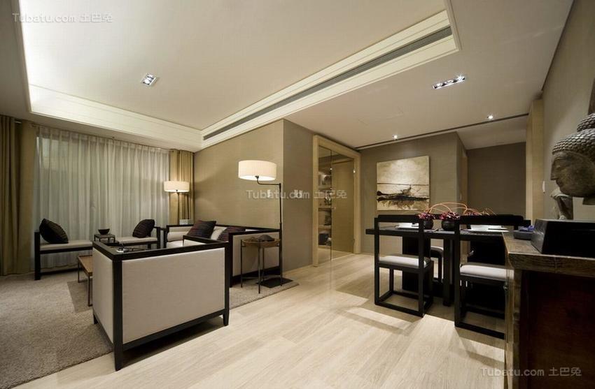 中式典雅三居室装修效果图