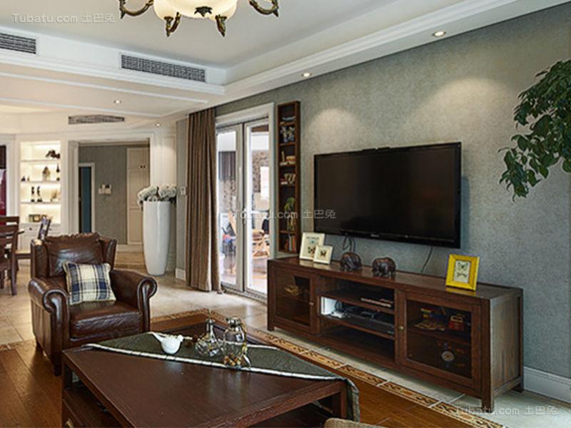 复古美式风格电视背景墙装修效果图