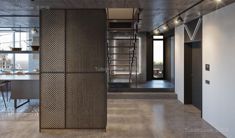 工业风摩登复式楼装修效果图