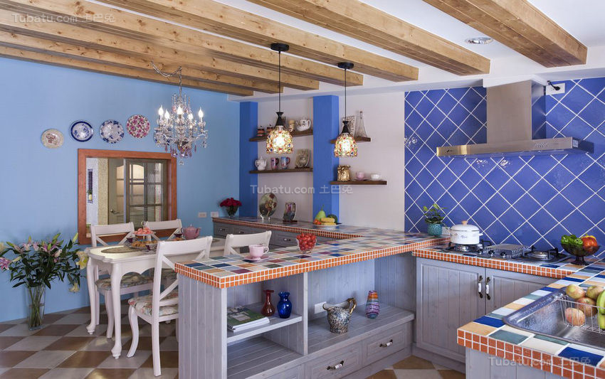 浪漫地中海风格厨房装修效果图